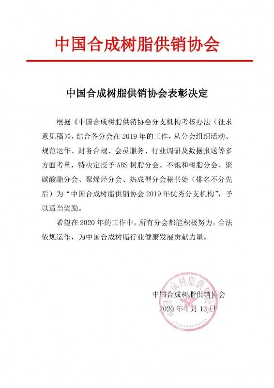 中国合成树脂供销协会表彰决定